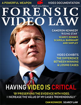 March 2019 Forensic Video Law Cover featuring attorney Cameron Kennedy