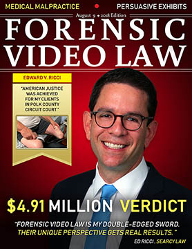 August Cover of Forensic Video Law Magazine featuring Ed Ricci