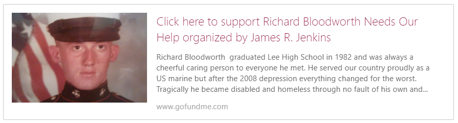 GoFundMe fundraiser for Richard Bloodworth, US Marine Veteran